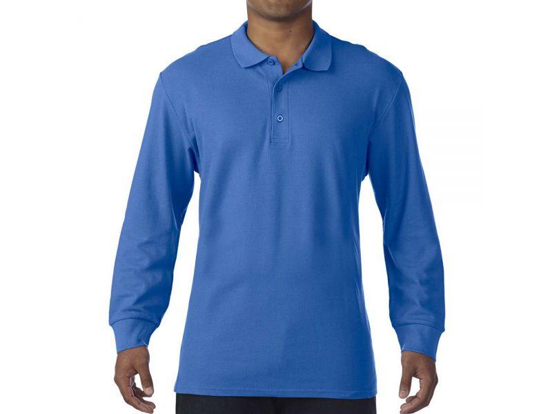 Gildan Premium Cotton férfi hosszú ujjú piké pamut póló
