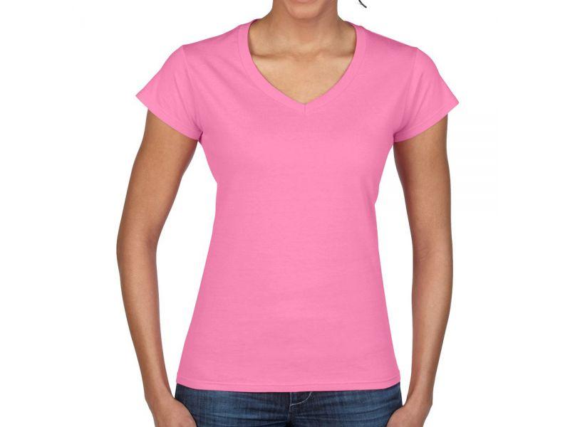 Gildan SoftStyle női v-nyakú pamut póló